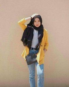 New Ideas Style Hijab Casual Pants – Hijab Fashion 2020 Modern Hijab Fashion, Street Hijab Fashion, Hijab Fashion Inspiration, Muslim Fashion, Style Hijab Simple, Style Casual, Simple Outfits, Casual Outfits, Fashion Outfits