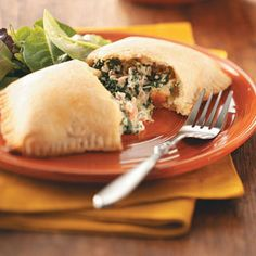Sausage & Spinach Calzones Recipe- These are so good! Made them last night and they were a HUGE hit!