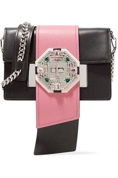 Prada - Ribbon Crystal-embellished Leather Shoulder Bag - Black - one size