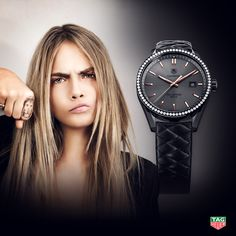 She's fearless. She's disruptive. She's a global style icon. Lioness Cara Delevingne is our muse for the TAG Heuer Carrera Cara Special Edition – a watch that reflects her unique personality in a chic combination of anthracite, black and rose gold. An alternate edition also features a diamond encrusted bezel. http://tag.hr/CaraSpecialEdition  #BaselWorld2015 #DontCrackUnderPressure