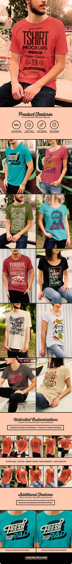 """This graphic resource gives you a quick & easy possibility to apply your artwork, text, image, logo and every kind of graphic on a man & woman t-shirts located in an urban scene. You just need to replace them into the smart object. Create a great apparel showcase for your website, a facebook cover, a clothing magazine or a fashion website banner. This offer include 2 different male models each in 4 different poses and also the """"Vintage Distressed Effect"""" that applies on your artwork to give…"""