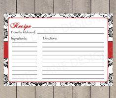 Recipe Card, INSTANT DOWNLOAD, Printable, Bridal Shower - Black and White Damask, Red, Bridal Shower Printables, Printable - R001