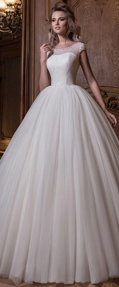 Exquisite Tulle & Lace Scoop Neckline Natural Waistline Ball Gown Wedding Dress With Beadings & Bowknot