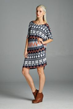 Aztec piko dress that can be worn as is or over leggings as tunic. Soft and comfortable and always stylish! Made in USA. www.cherishusa.com www.fashiongo.net/cherish