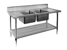 All Stainless Steel Double Centre Sink Bench with Pot Undershelf Commercial Stainless Steel Sink, Commercial Sink, Stainless Steel Sinks, Kitchen Modular, Open Kitchen, Catering Equipment, Single Sink, Splashback, Australia Living