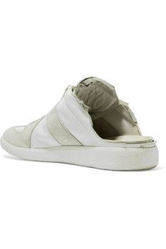 Maison Margiela - Leather And Suede Slip-on Sneakers - White - IT39.5