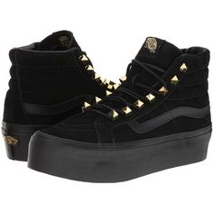 Vans SK8-Hi Platform Black) Skate Shoes (300 SAR) ❤ liked on Polyvore featuring shoes, sneakers, vans, black, black hi top sneakers, skate shoes, vans shoes, black high top sneakers and black sequin sneakers