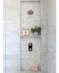 Mini Gray Marble Tiled Shower Niche – Transitional – Bathroom Mini Gray Marble T… – Marble Bathroom Dreams Beautiful Bathrooms, Modern Bathroom, Small Bathroom, Master Bathroom, Bathroom Ideas, Master Baths, Chic Bathrooms, Bathroom Inspo, Contemporary Bathrooms