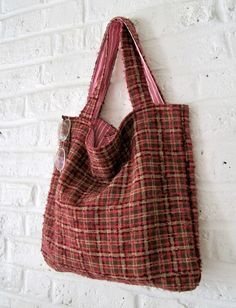 Handmade Recycled Checked Tweed Bag by MadeinW6 on Etsy