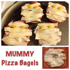 Quick and clean Mummy Pizza Bagels!  Perfect for Halloween Fun!  I love fun food recipes!