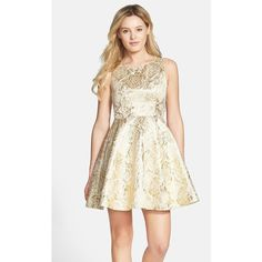 Junior Women's a. drea Rose Foil Skater Dress (£85) ❤ liked on Polyvore featuring dresses, ball dresses, skater dresses, sparkly skater dress, white ball dresses and sparkly dresses