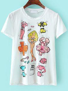 White Short Sleeve Barbie Print Slim T-Shirt 15.17