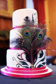 """I like the silk ribbon on the edges of the tiers...will possibly look good with our main other design, but it may mess up the """"flow"""" of the cascading feathers. Will have to wait and see!"""