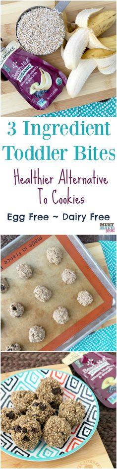 3 ingredient toddler bites recipe! Healthy alternative to cookies. Egg free, dairy free, flourless cookie alternative. Easy toddler snack idea, easy toddler food ideas.
