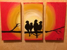 Love Birds Art Acrylic Abstract Painting on Canvas, valentines Day, Canvas Set, home decor house warming gift, love sign, dorm room decor by GourmetCandle on Etsy https://www.etsy.com/listing/217240303/love-birds-art-acrylic-abstract-painting