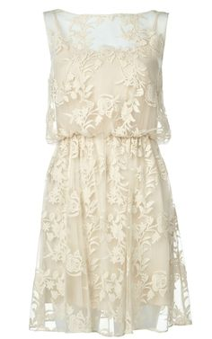 cream lace dress.