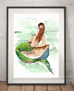 Watercolor Art Print -Title:  Mermaid by the Sea - Fine Art Decor, Green Art , Happy colors, Wall Art, Mermaid Painting,  Gifts Art online