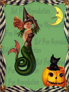 phm7 QUILTING FABRIC HALLOWEEN Mermaid by wwwvintagemermaidcom, $3.00