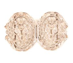 A lady's silver waist buckle, each half pierced with two birds within pierced oval panels, Chester 1899