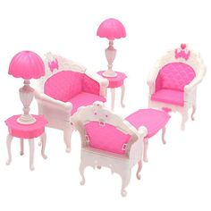 6pcs Sofa Pink and white Toy For House Barbie Doll Furniture Living  feel