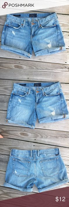Lucky Brand Laguna Shorts Distressed Lucky Brand Laguna Shorts. Length is adjustable, as seen in pictures. Size 4/27. Gently loved! Lucky Brand Shorts Jean Shorts