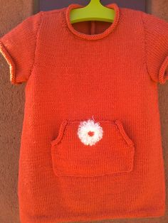 Cute baby woolen dress with flower detail. Look for more at my @Etsy shop. #knitting #babygirl #etsy