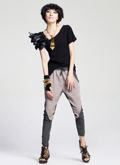Othermix- Ruched-Side Panel Harem Pants