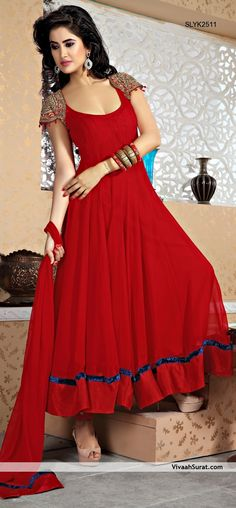 Faux Georgette Fabric Red Color Anarkali Style Suit