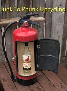 Novelty Upcycled Fire Extinguisher Mini Bar Recycled Man