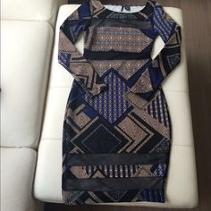 Fun Bodycon Dress Super Cute Bodycon dress w/Black Sheer Panels.. Worn twice... Purchased from a local boutique, posted under forever 21 for finders purposes... In perfect condition... ☺️ Forever 21 Dresses Long Sleeve