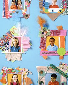 These frames are a snap for kids to make. Take photos of guests with an instant camera. Kids can mat them to precut card-stock squares, then embellish the borders. Add self-adhesive magnets to the back for hanging on the fridge.