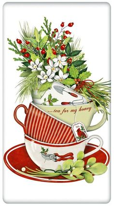 The true workhorse of any kitchen; the flour sack dish towel. Designed by Mary Lake Thompson, featuring a stack of holiday teacups! Dog lover gifts too.