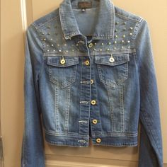 Sz small old spiked Jean jacket gold spiked demon jacket size small. no missing spikes. NWOT never worn Jackets & Coats Jean Jackets