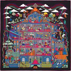 Carré 90 Hermès | La Maison des Carrés HISTOIRE DU DESSIN : La Maison des Carrés est la joyeuse évocation, ludique et multicolore, d'une belle aventure: la création d'un carré de soie, depuis sa première inspiration jusqu'à sa mise en vente en passant par sa coloration et son impression. On reconnaît ainsi, le musée, cabinet de curiosités, source d'inspiration pour tant de dessins, le studio de création, pépinière de talents; et finalement tous les différents acteurs de cette épopée, tous…