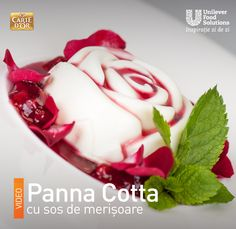 PANNA COTTA CU SOS DE MERISOARE Pudding, Desserts, Food, Tailgate Desserts, Deserts, Eten, Puddings, Postres, Dessert