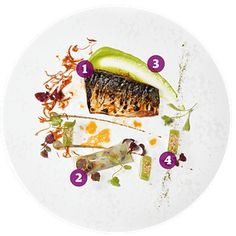 Flame-grilled mackerel with avocado, Celtic mustard and shiso: the Ledbury, London W11.