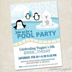 Polar Bears & Penguins Winter Pool Party invitation, digital file, from Pigskins & Pigtails Swim Party Invitations, Printable Invitations, Birthday Invitations, Penguin Birthday, Bear Birthday, 11th Birthday, Kids Party Themes, Diy Party Decorations, Party Ideas