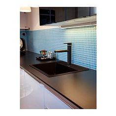 HÄLLVIKEN 1 bowl insert sink, drain+strainer, black quartz composite, quartz composite - IKEA