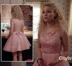 Carrie's pink backless dress with pleated skirt by SHERRI HILL on The Carrie Diaries.