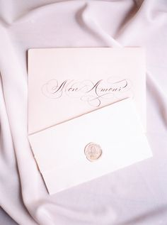 romantic calligraphy love letter with wax seal by Studio French Blue Letterpress Wedding Invitations, Wedding Calligraphy, Wedding Invitation Design, Invitation Ideas, Invitation Cards, Invites, Pink Wedding Receptions, Wedding Ideas, Wedding Tables