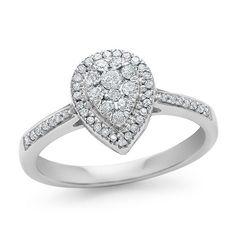 1/3 Carat Diamond Pear Shaped Cluster Ring in  10K White Gold #Netaya