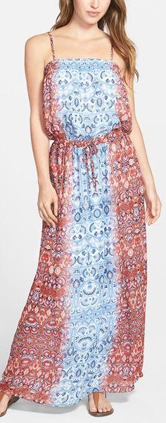 mixed print blousy maxi dress