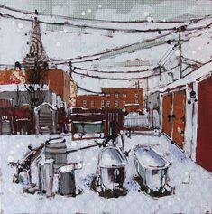 "winter bathing, nanton ab  mixed media on canvas, 14"" x 14""   SOLD"