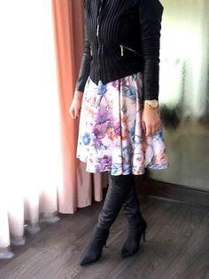 Full skirt and otk boots