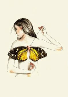 art, beautiful, butterfly, drawing, girl, stitches, vintage, wings