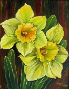 Flowers - Pale Daffodils - Oil Paintings - Clina Polloni