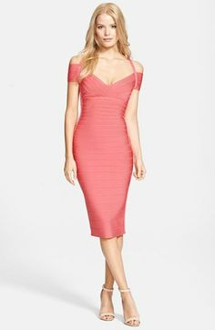 Herve Leger Off Shoulder Bandage Dress