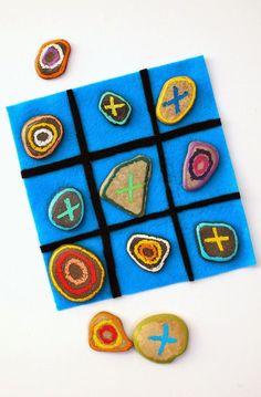 Turn backyard treasures into a beautiful rock tic-tac-toe game.  Beautiful, easy, and fun!