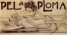 """Portada de la revista """"Pèl i Ploma"""", Ramon Casas"""