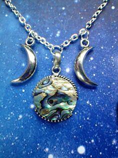 Abalone Paua Shell Triple Goddess Moon necklace. $24.00, via Etsy.